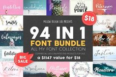 94 IN 1 Font Bundle SALE by Mellow Design Lab on @creativemarket