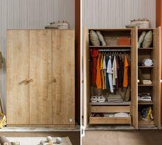 Stockholm 3 deurs kledingkast hout kinderkamer binnenkant