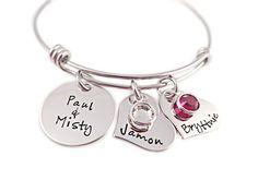 Family Heart Birthstone Bangle Bracelet