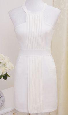 Refreshing white summer dress!   Sexy strapless dress D997