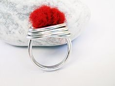 Wire Wrapped Cocktail Ring Red Felted Wool Felted by SteamyLab, $25.00