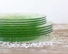 Vintage Green Festiva Swirl Plates 4 Dessert by TheHeirloomShoppe
