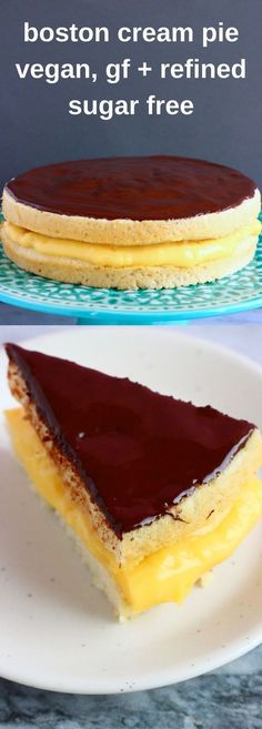 This Gluten-Free Vegan Boston Cream Pie is rich and creamy, perfectly chocolatey, and just as delicious as the traditional version! Refined sugar free. Filled with rich, creamy, egg-free and dairy-free custard and topped with chocolate ganache.