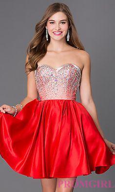 Short Strapless Sweetheart Dress with Jewel Embellished Bodice at  PromGirl.com Vestido De Novia c454786b5836