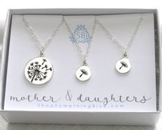 Mother & Daughters Dandelion Necklaces • Silver Dandelion Charm • Mother's Day Gift • Wish Necklaces • Dandelion Seeds • Dandelion Pendants