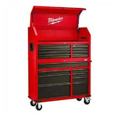 Heavy-duty, Drawer 16 Tool Chest 46 In. and Rolling Cabinet Set, Red and Black, Personal Valuables Storage Drawer with Separate Lock in the Tool Chest Milwaukee Us General Tool Box, Mechanic Tool Box, Power Tool Set, Garage Organization Systems, Milwaukee Tools, Milwaukee M12, Tool Steel, Tool Storage, Storage Chest