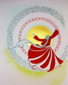 Original Painting Whirling Dervish Sufi Dance Rumi Miniature by AEDesignHouse on Etsy Islamic Art Pattern, Pattern Art, Mandala Drawing, Mandala Art, Diy Bag Painting, Ebru Art, Infinity Art, Whirling Dervish, Illumination Art