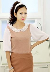 Laced Collar Chiffon Blouse @ $49 SGD only! (Available in: Dark Grey, Pink, Khaki)