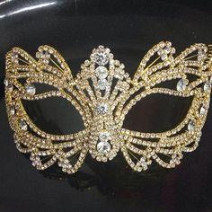 Gold Rhinestone Face Venetian Masquerade Party Mask Wedding, Prom Mask- Wedding