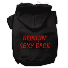 Bringin' Sexy Back Screen Print Pet Hoodies Black Size XXL (18)