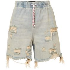 Alexander Wang Distressed denim shorts (1.085 BRL) ❤ liked on Polyvore featuring shorts, destroyed shorts, alexander wang, pull on shorts, distressed shorts and ripped shorts