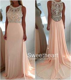 A-line Round Neck Light Pink Long Prom Dresses, Graduation Dresses,evening dress,formal dress,prom 2k16 #prom #promdress #dress #formal