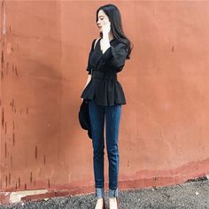 秋装女装复古风chic气质收腰显瘦衬衣V领七分袖修身百搭学生上衣-淘宝网