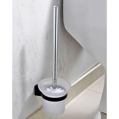 Toilettenbürste Klobürste Toilettengarnitur WC-Bürstenhalter Set Glas Schwarz