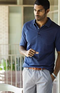 Navy Performance Multi Jacquard Polo $69; Grey Superfine Cotton Twill Shorts; English Tan Leather Featheredge Belt