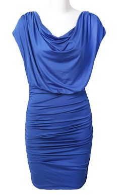 Blue Batwing Sleeve Pleated Bodycon Silk Dress - Sheinside.com