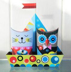 Die Eule & die Pussy-Katze ging zum Meer Papiermodelle