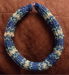 Hexafish Rainbow Loom Bracelet Blue/white by ButtonsBetwixtRibbon, $4.00