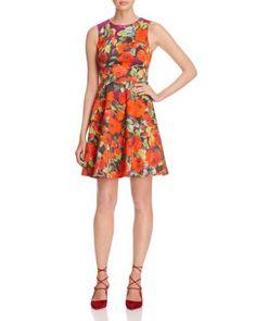 KAREN MILLEN Archive Rose Print Fit-And-Flare Dress - 100% Bloomingdale's Exclusive   Bloomingdale's
