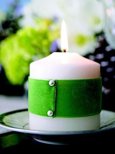 Green-Ribbon Wrapped Candle for St Paddy's Day decor St. Patricks Day, Saint Patricks, Little Presents, St Patrick's Day Crafts, St Paddys Day, Green Ribbon, Diy Ribbon, Ribbon Wrap, Luck Of The Irish