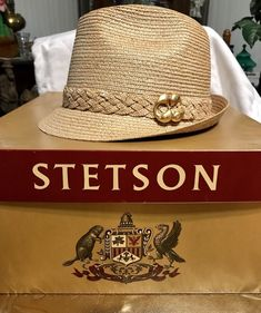 Vintage Stetson Straw Hat w/ Braided Band and Gold Accent w/ Original Box Size7 #fashion #clothing #shoes #accessories #vintage #vintageaccessories