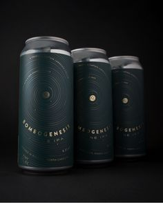 The can designer went for a dark theme. The matte background with the glossy typography give the can a sleek look. Honey Packaging, Beverage Packaging, Coffee Packaging, Brand Packaging, Craft Beer Labels, Beer Label Design, Graphisches Design, Packaging Design Inspiration, Grafik Design