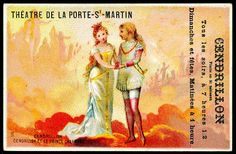 """French tradecard advertising a production of """"Cinderella"""" c1900."""