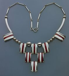 Art Deco Chromium Plated Brass and Galalith Necklace (c.1930) by Jakob Bengel, Germany