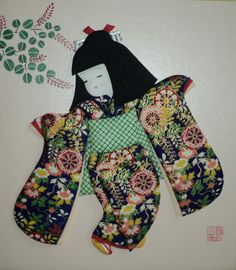 Jual Kerajinan Dari Jepang Oshie Kurumie Ceriwis Indonesian Origami Fish, Origami Paper, Japanese Paper Art, Japanese Doll, Asian Quilts, Asian Cards, Patch Aplique, Japanese Embroidery, Japan Art