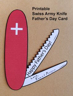 Printable Swiss Army Knife Father's Day Card