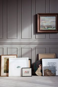 Gray / picture framing for rooms without full paneling / art on the floor unless pets and children ruin our decorative lives.