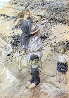 Children at the Seashore - Arthur Rackham