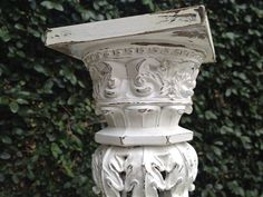 Beautiful White Shabby Chic White Ornate Tall Candle Holder/Pillar by shabbyshores, $50.00