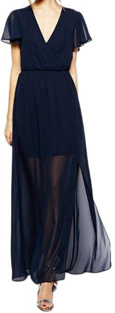Romwe V-neck Cut-out Longline Chiffon Navy-blue Dress on shopstyle.com