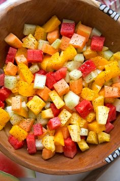 Mexican Fruit Salad - a fruit salad that combines watermelon, cantaloupe, honey dew, and mangoes that are tossed in a sweet spicy dressing salad salad salad recipes grillen rezepte zum grillen Mexican Fruit Salads, Watermelon Fruit Salad, Fruit Salad Recipes, Watermelon Recipes, Mexican Food Recipes, Jello Salads, Watermelon Healthy, Mexican Snacks, Fruit Fruit