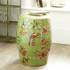 Ceramic parrot stool - now back in stock!  an angle at my table.com