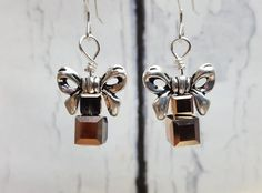$49.95 ~ Xmas Present Earrings ~ Stocking Stuffers For Wife, Girlfriend ~ Rose Gold & Sterling Silver Christmas Earrings For Women ~ Gifts Under 50 ~ Use discount code PIN10 for 10% off in my Etsy shop