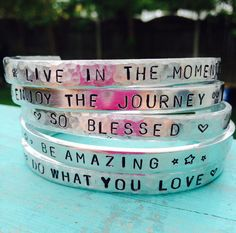 Motivational Cuffs by JewelryWithWords on Etsy https://www.etsy.com/listing/202829127/motivational-cuffs