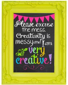 Creativity is Messy Chalkboard Craft Room Wall Art Printable by RedbirdTrail