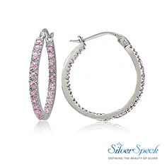 3949c8740 $16.99 Sterling Silver Pink Cubic Zirconia Inside Out 20mm Round Hoop  Earrings #CubicZirconia #SterlingSilver