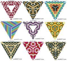 Peyote triangle patterns - originally from www. Seed Bead Patterns, Beaded Jewelry Patterns, Peyote Patterns, Beading Patterns, Beading Tutorials, Triangle Pattern, Beaded Crafts, Beading Techniques, Bead Weaving