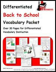 Differentiated Back to School Vocabulary Packet - 4 week long units for free
