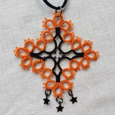 Tatted Orange and Black Cross Pendant