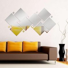 Espelhos Decorativos Perspectiva - Produto no Brasil - Envio Imediato Fancy Mirrors, Wall Mirrors Set, Living Room Mirrors, Mirror Set, Diy Mirror, Lounges, Mirror Over Bed, Home Decor Shelves, Mid Century Modern Living Room