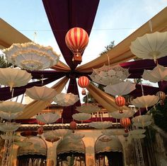 Overhead decor for a Vintage Traveling Circus baby shower. Incredible!