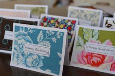 Great use of my sewing odds n ends... Birthday cards using fabric scraps