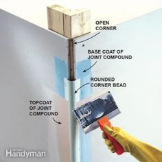 home repairs,home maintenance,home remodeling,home renovation Drywall Corners, Drywall Tape, Drywall Repair, Fixing Drywall, Plaster Repair, Drywall Ceiling, Drywall Mud, Ceiling Fan, Home Renovation