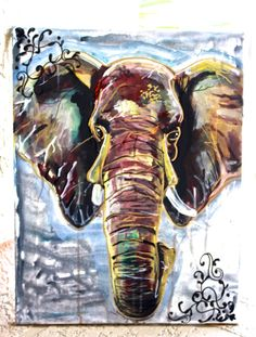 Acrylic Ornate Elephant Painting on Stretched by LittleGypsyFinds, $20.00