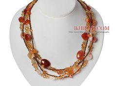Multi Strands Natural Color agata e collana di cristallo con chiusura magnetica