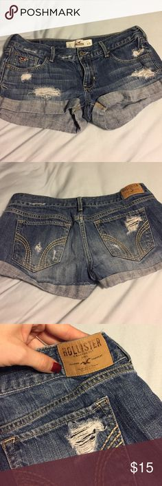 Hollister Jean shorts Good as new! Worn a few times but in perfect shape! Size 3 W 26. Fit snug though because Hollister runs small. Ask any questions you have Hollister Jeans